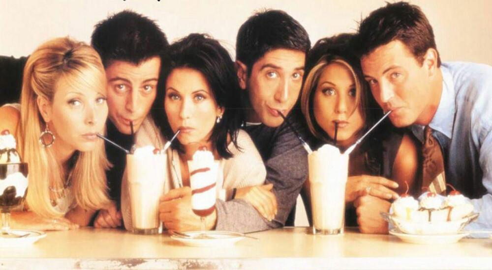 FRIENDS: Jennifer Aniston, Lisa Kudrow, Courtney Cox, Matthew Perry, Matt LeBlanc og David Schwimmer i TV-serien Friends.