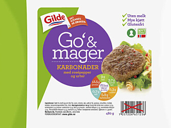 SUNNERE KARBONADER? Tidligere i år lanserte Gilde «Go `& mager karbonader med rosépepper og urter».