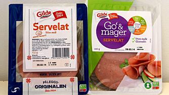 HVA VELGER DU? Go` & mager-servelat har mindre fett og kilokalorier, men likevel inneholder den mer salt og mindre kjøtt sammenlignet med original servelat.