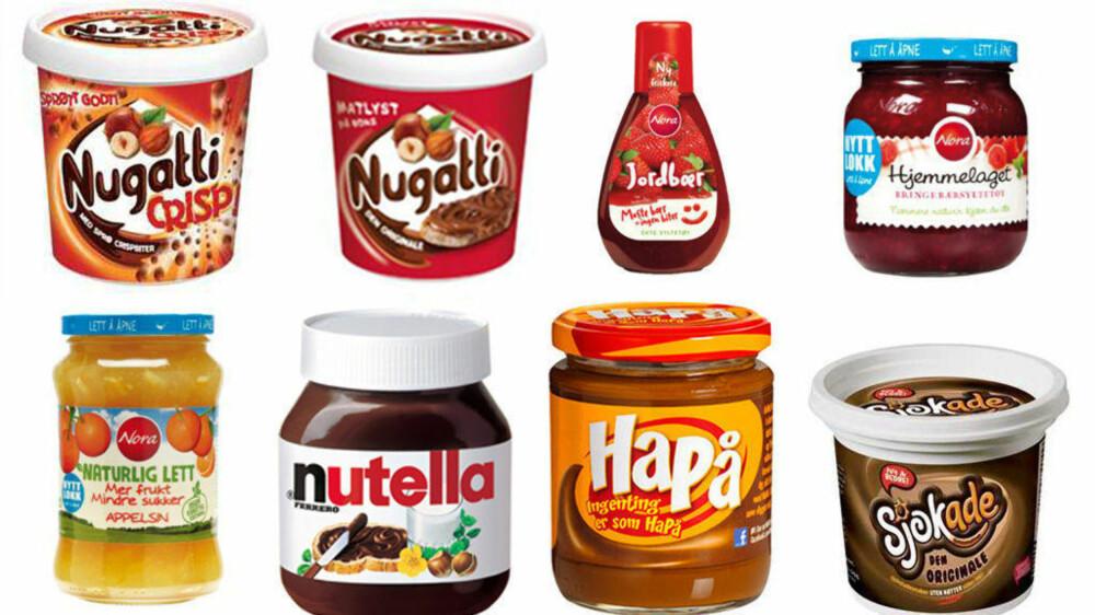 TILSATT SUKKER: Side2 har sett nærmere på innholdet av tilsatt sukker i 15 utvalgte søtpålegg-produkter.