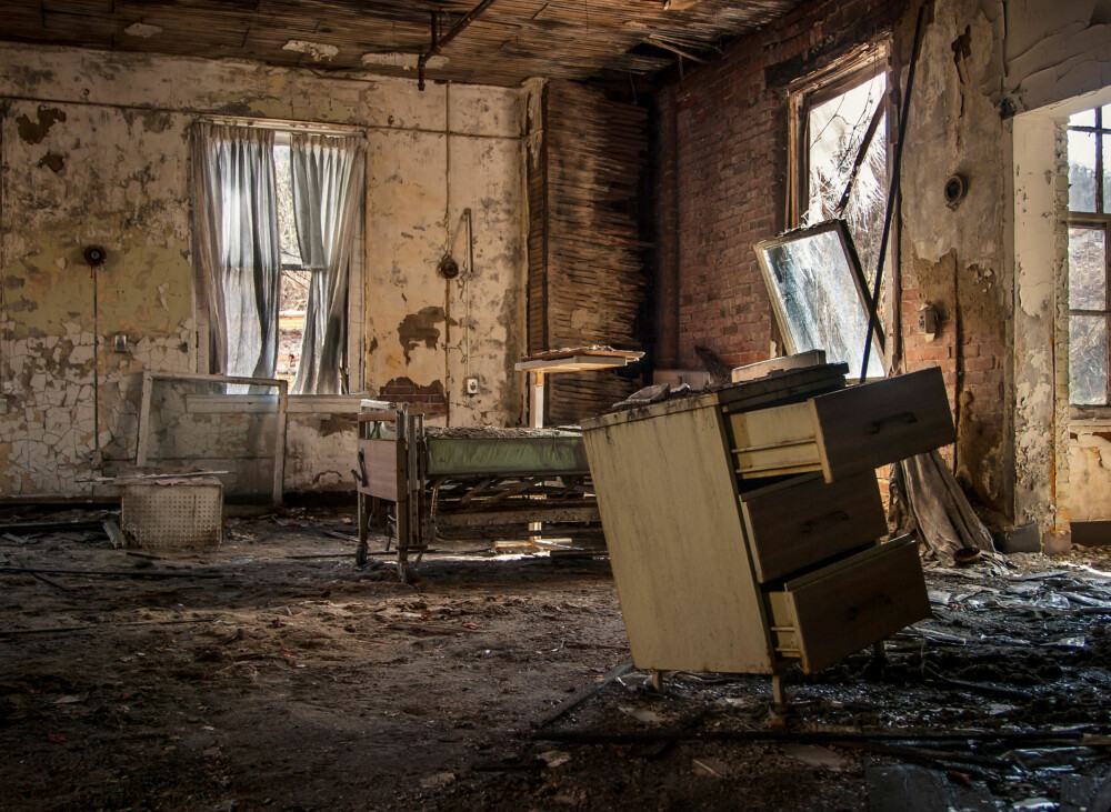 Det er ikke lett å se at dette en gang var et sykehus.