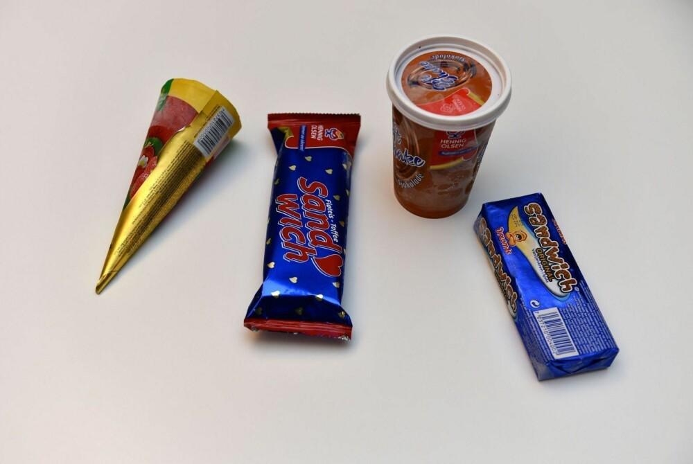 UHØYTIDELIG TEST: Nettavisen smeltetestet Sandwich og Soft Shake sjokoladeis fra Hennig Olsen og Sandwich og Krone-Is jordbær fra Diplom-Is.
