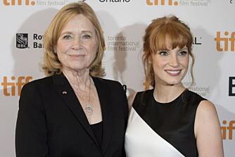 Liv Ullmann og Jessica Chastain under premieren i Toronto.