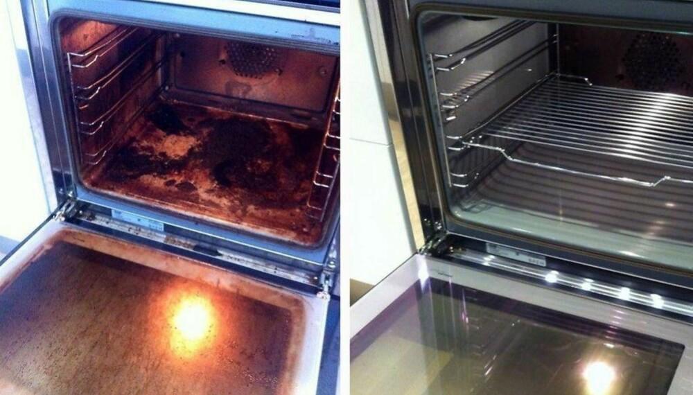 Slik gikk det da stekeovnen ble rengjort nærmest av seg selv over natten.Les om Elisabeths triks i linken ovenfor.