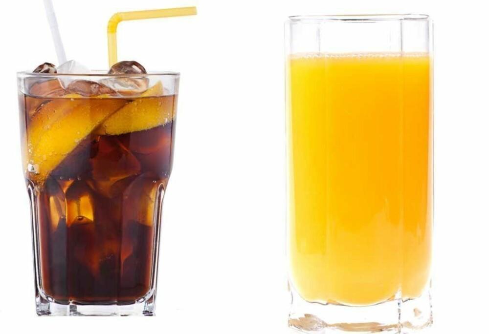 Juicen inneholder mer kalorier enn brusen, men juicen bidrar også med næringsstoffer. Velg vann først og fremst, men kos deg med et glass brus eller juice i ny og ne.