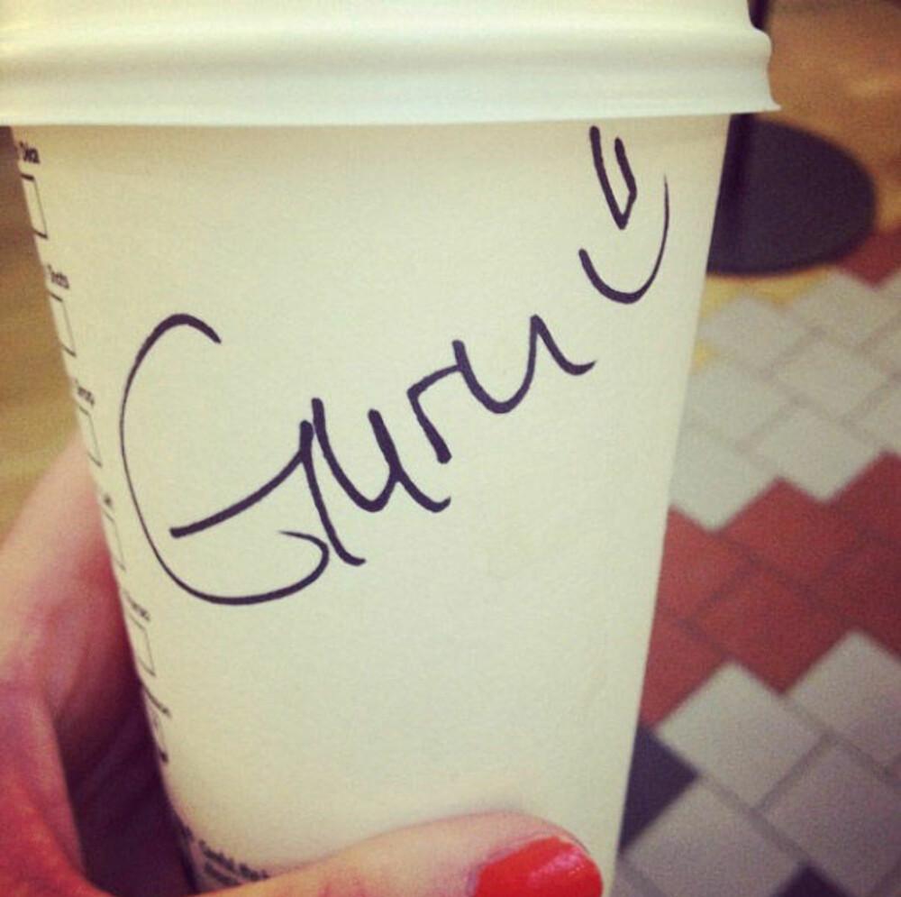 POSTET PÅ INSTAGRAM: Guro ble til Guru, med et smilefjes, fra en Starbucks-ansatt.