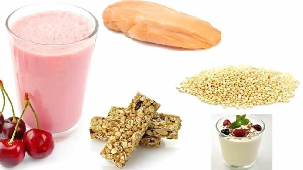 TRENINGSMAT: Kirsebærsmoothie, kylling, gresk yoghurt, quinoa og frukt- og nøttebar er god trenings-snacks.