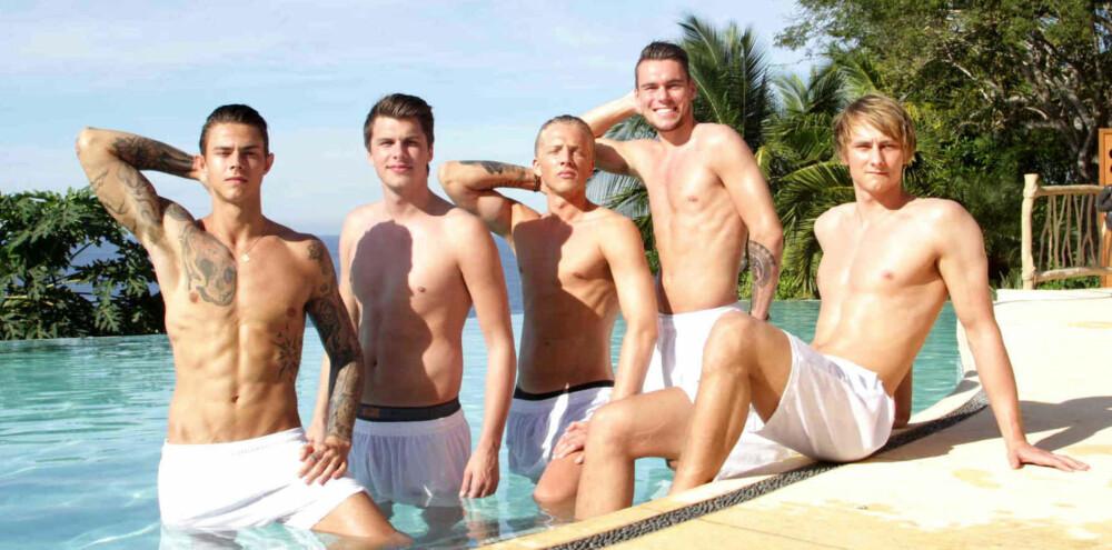 PARADISE HOTEL: Pierre (f.v.), Mads, Harald, Kevin og Jonas er klare for et opphold på Paradise Hotel.