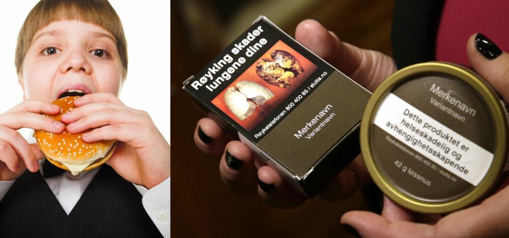 I Norge er de helseskadelige effektene av tobakk og snus tydelig merket på pakningene. Nå vil den australske organisasjonslederen Aaron Schultz at det samme skal gjøres på junkfoodpakninger.