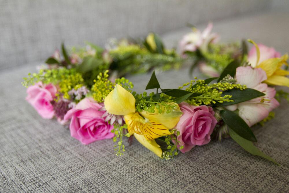 «VILL» BUKETT: Denne buketten er satt sammen av blomster i forskjellige farger og fasonger, mikset med litt grønt.
