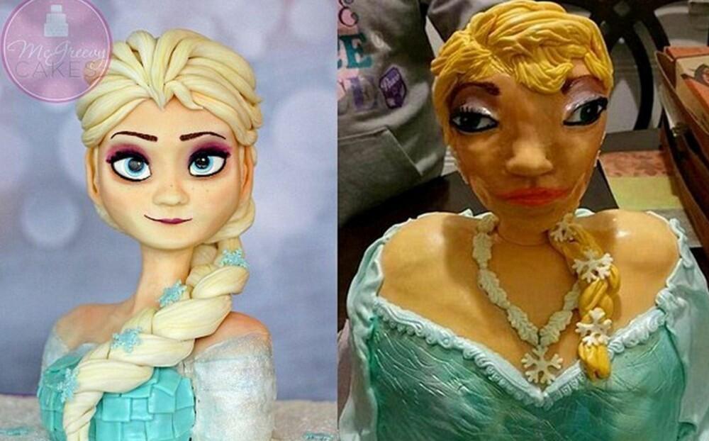 STOR FORSKJELL: Det var stor forskjell på kaken de reklamerte med, og kaken familien fikk. Foto: Imgur