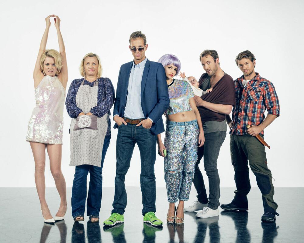 BLOGGERHUMOR: Jakob Oftebro, Morten Ramm, Laila Goody, Mariann Hole, Iben Akerlie og Mattis Herman Nyquist spiller bloggere i «Hæsjtægg»