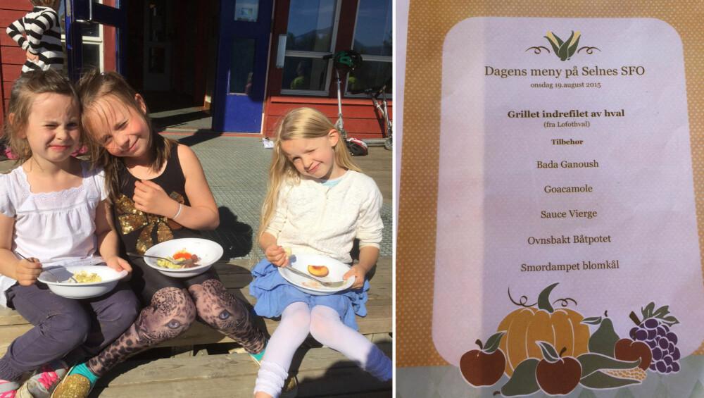 Julie, Aurora og Linnea koser seg med maten på SFO på skolen. Til høyre er et eksempel på en meny på Selnes skole.