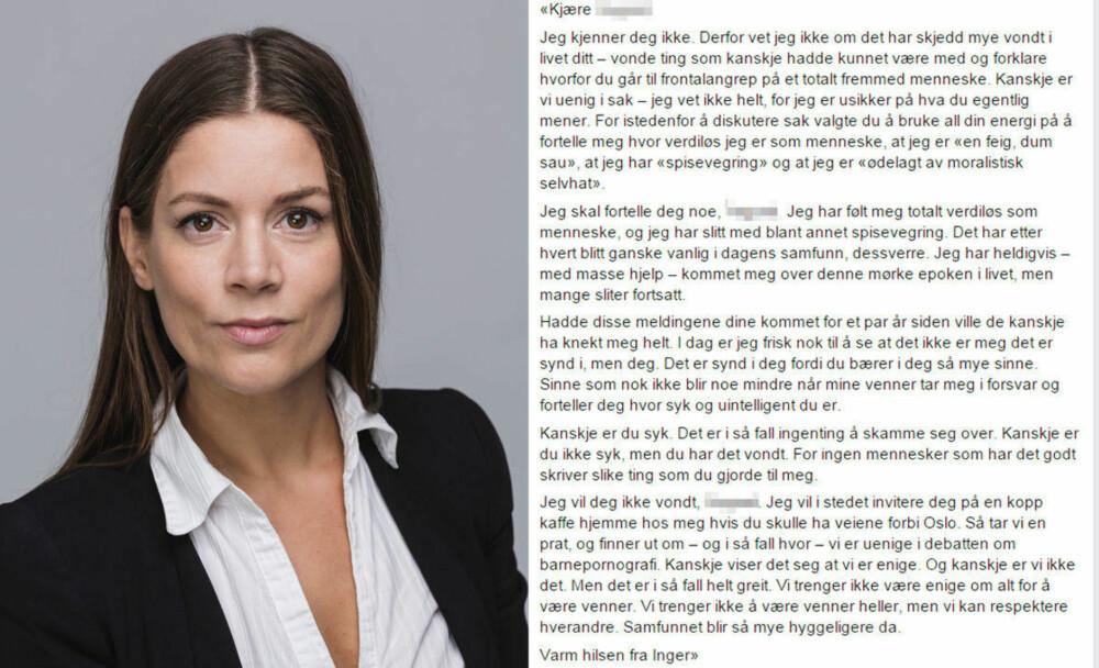 a0e5dd3b Inger Silka Zadig skriver åpent brev til mannen som mente hun var «totalt  verdiløs som menneske»