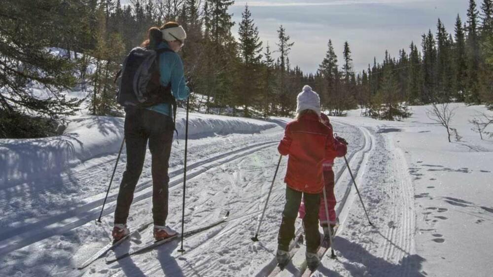 Gå gjerne en skitur, men være påpasselig med å ha på deg varme klær og husk at små barn er særlig sårbare for kulda.