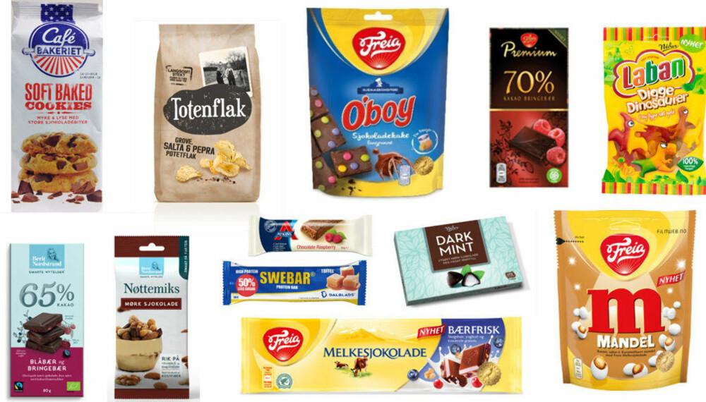 NOEN SNACKSNYHETER: Sjokolade, kjeks, chips og nøtteblandinger.