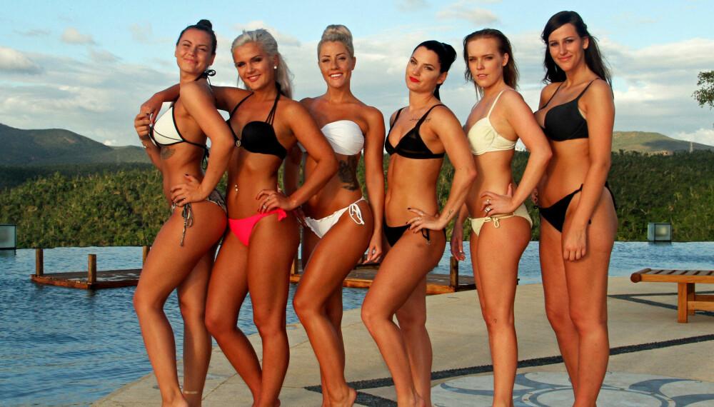 KLARE FOR PARADISE HOTEL: Disse seks jentene har sjekket inn på realityhotellet.