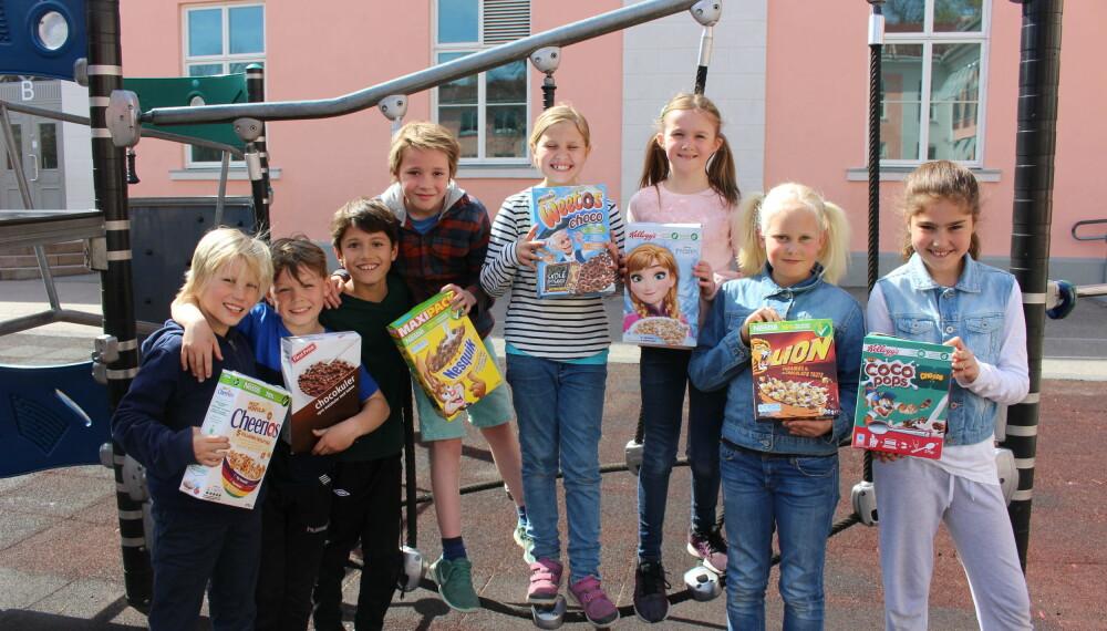 Barn sto for smakstesten av frokostblandingene.
