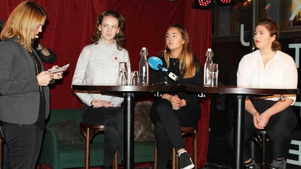 VOLD MOT KVINNER OG RUSENS ROLLE: Anna (19), Kari (19) og Oline (16) om hvordan de opplever unge kvinners situasjon.
