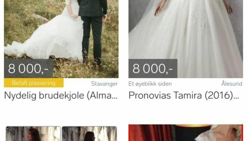 Et søk på Finn.no, gir over 5000 resultater på brudekjoler.