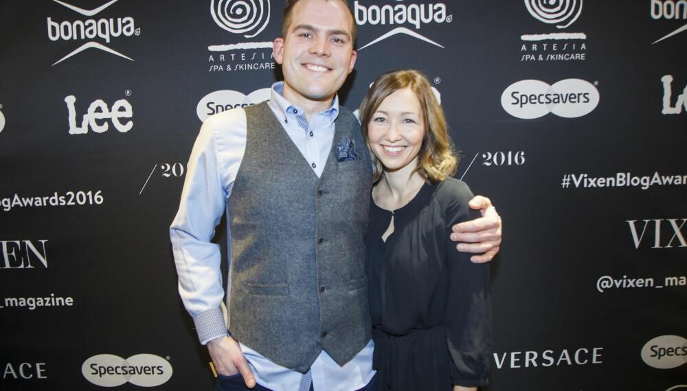Peter Kihlman og kona Christina Kihlman på Vixen Blog Awards 2016 på Grand Hotel i Oslo.