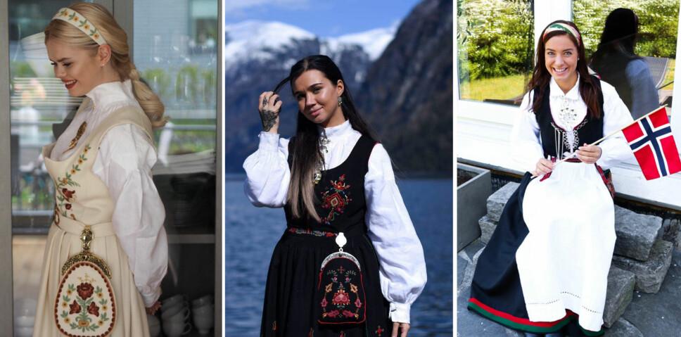 FLOTTE BUNADER: Julianne Nygård (f.v.), Sophie Vågsæter og Maren Erdvik i sine bunader.