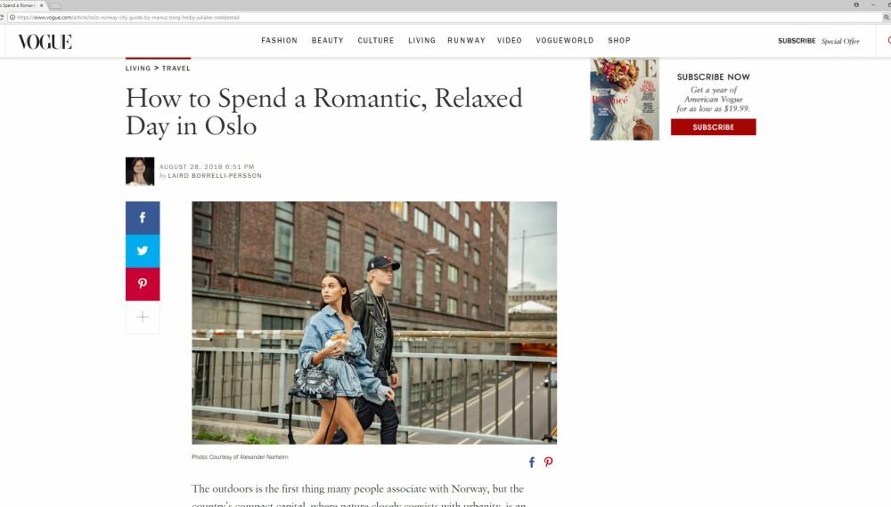 I STOR REPORTASJE: Marius Borg Høiby og Juliane Snekkestad er Vogue-lesernes «guide» i en livsstilsreportasje om Oslo.