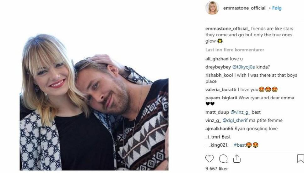 Emma og Ryan: De to har spilt i flere filmer sammen, noe som også har resultert i et godt vennskap.
