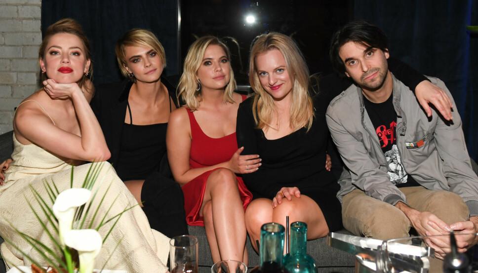 FRA VENSTRE: Amber Heard, Cara Delevingne, Ashley Benson, Elisabeth Moss og Alex Ross Perry på «Her Smell» cocktailparty på RBC House Toronto Film Festival i helgen.