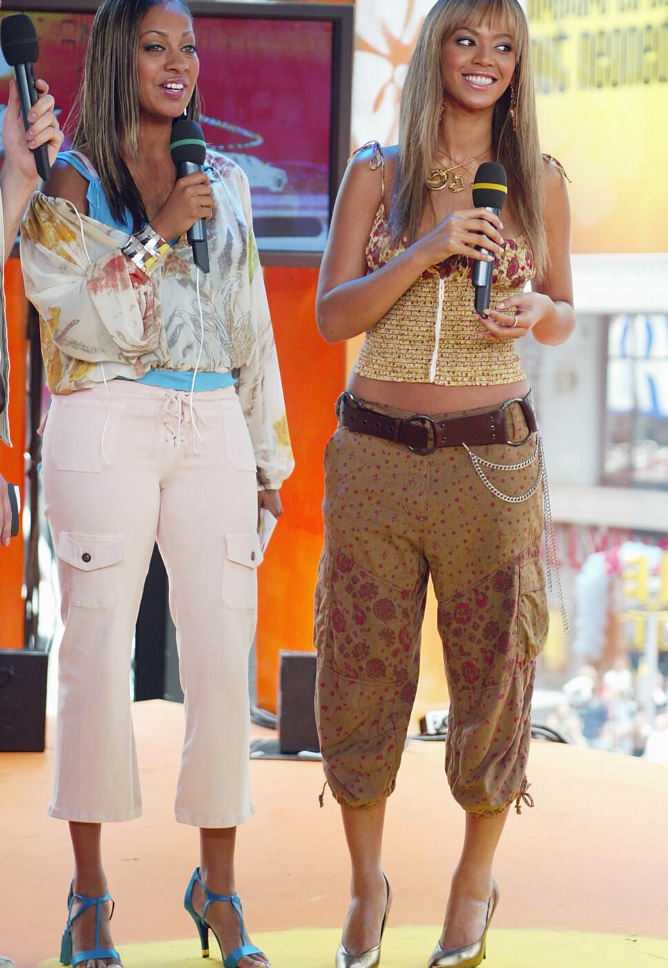 Beyonce iført piratbukser med strikk. Her sammen med Lala Anthony.