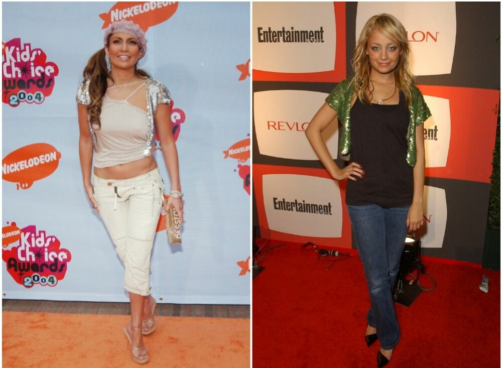 Jennifer Lopez og Nicole Richie med paljettbesatte varianter.
