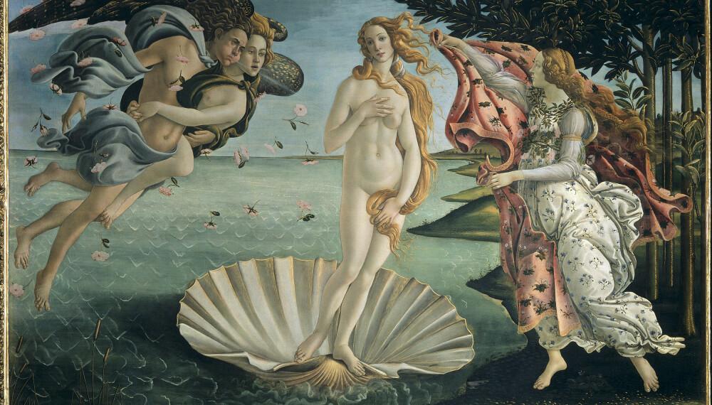 UTEN HÅR: Den hårløse Venus var (og er) selve symbolet på kvinnelig feminitet. Her er hun, malt av kunstneren Sandro Botticelli mellom 1484 og 1486.