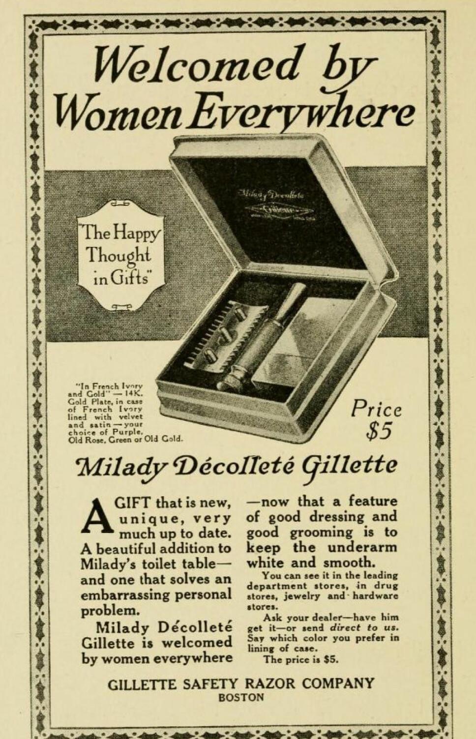 """FØRSTE ANNONSE UT: Denne annonsen for verdens første barberhøvel rettet mot kvinner har i senere tid «fått skylda» for at skjønnhetsidealet i den moderne tid fremdeles er å være hårløs.. Her omtales kroppshår som et """"pinlig, personlig problem""""."""