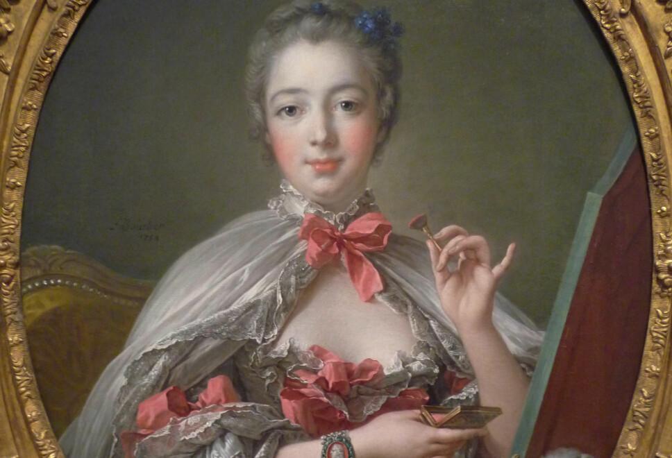 I elisabethansk tid var det fargerik og flamboyant sminke som gjaldt, både hos kvinner og menn. Avbildet er madame Pompadour, som var kjent for sine karakteristiske knallrosa kinn.