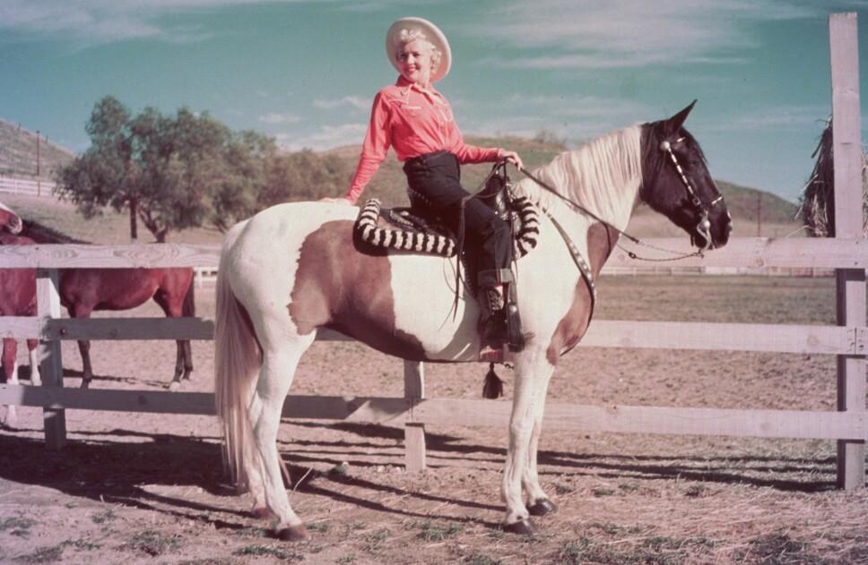 DENIMKLEDD: Skuespiller Betty Grable ikledd jeans rundt 1952.