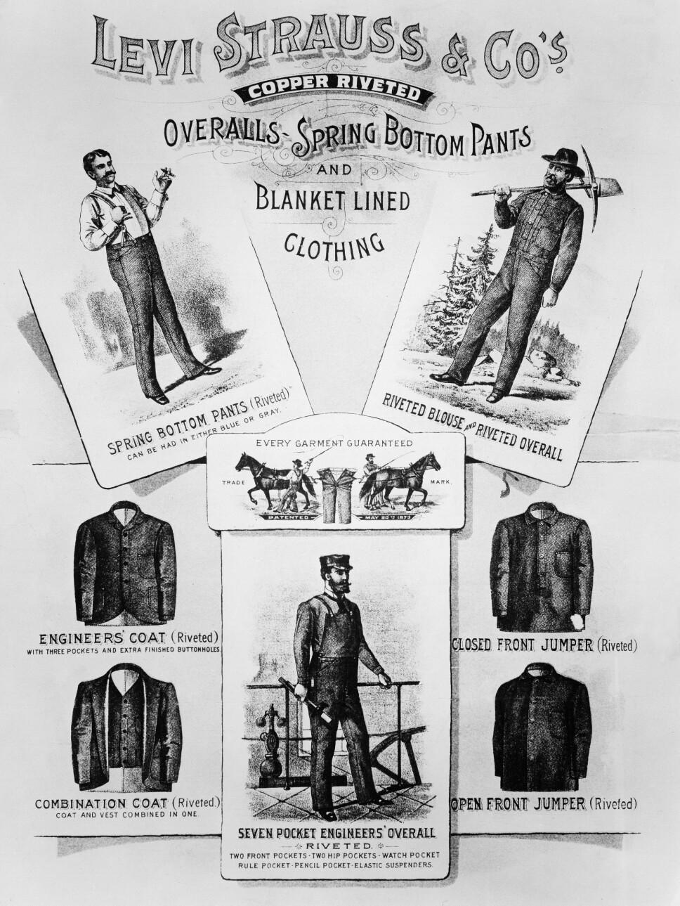 1880: Reklame for Levi Strauss-klær fra slutten av 1800-tallet.