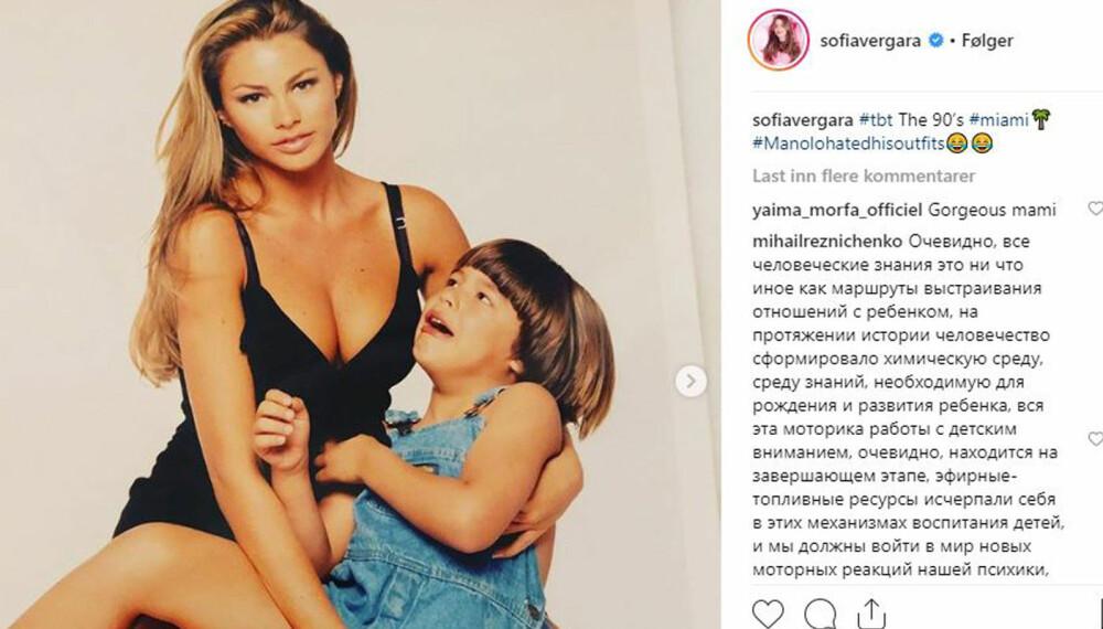 VAR TENÅRINGSMOR: Sofia Vergara delte bildet fra 90-tallet