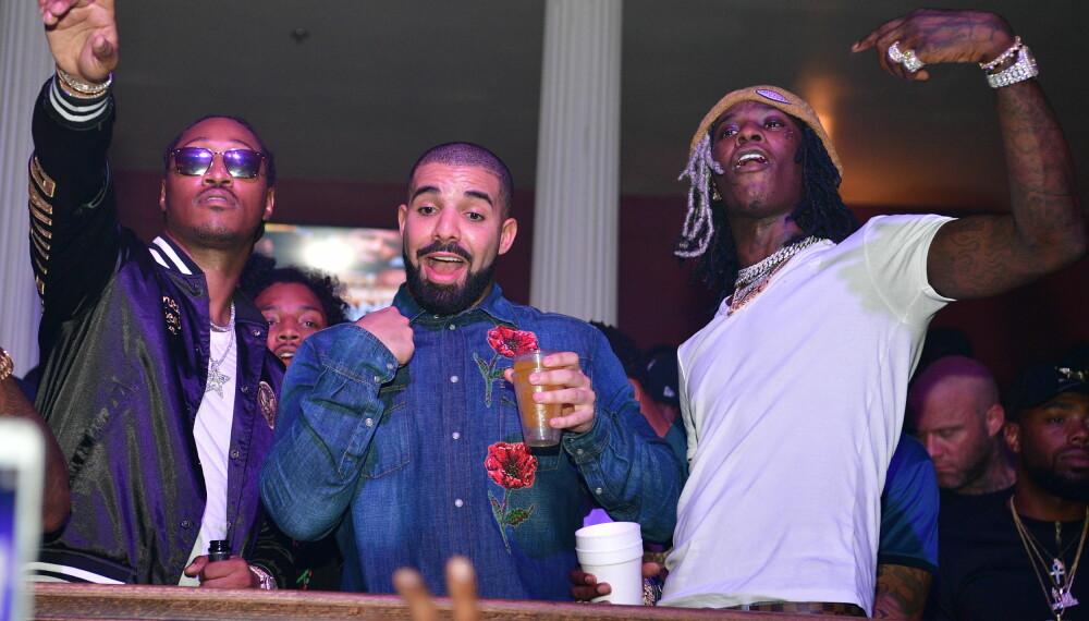 STJERNER: Rapperen Future (f.v.), Drake og Young Thug på fest. Drake stakk imidlertid av med seieren som mest streamet i året som gikk.