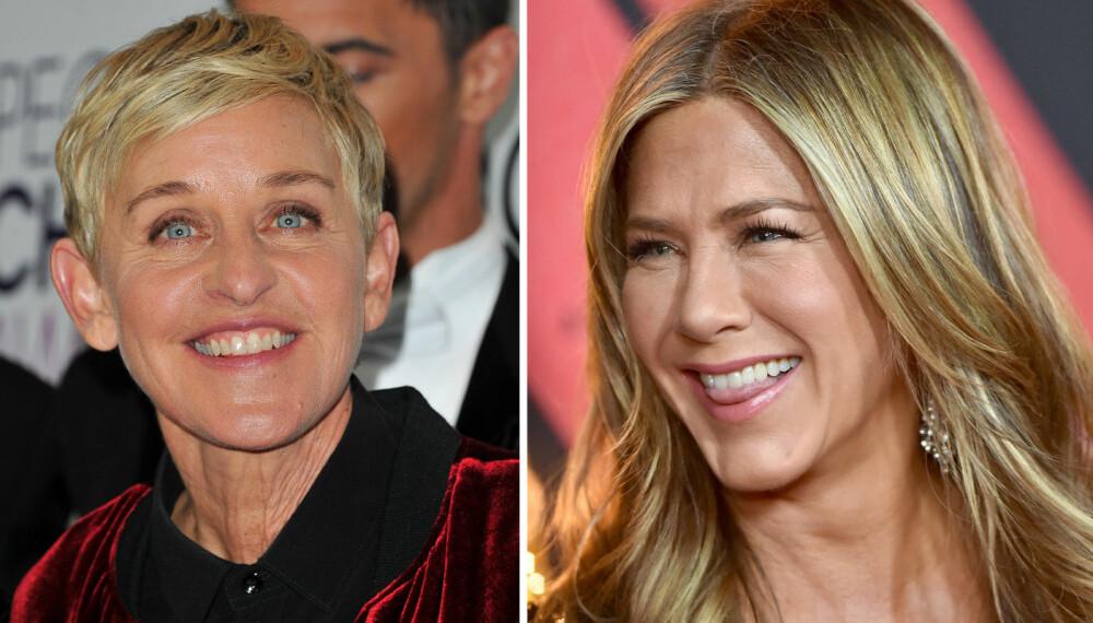 VENNINNER: Ellen stilte sin venninne Jennifer Aniston en rekke spørsmål.