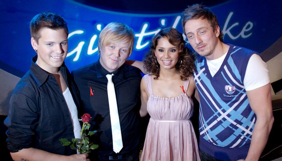 IDOL-STJERNENE: Aleksander Denstad With (f.v.), Kurt Nilsen, Jorun Stiansen og Kjartan Salvesen under «Idol gir tilbake» i 2007.