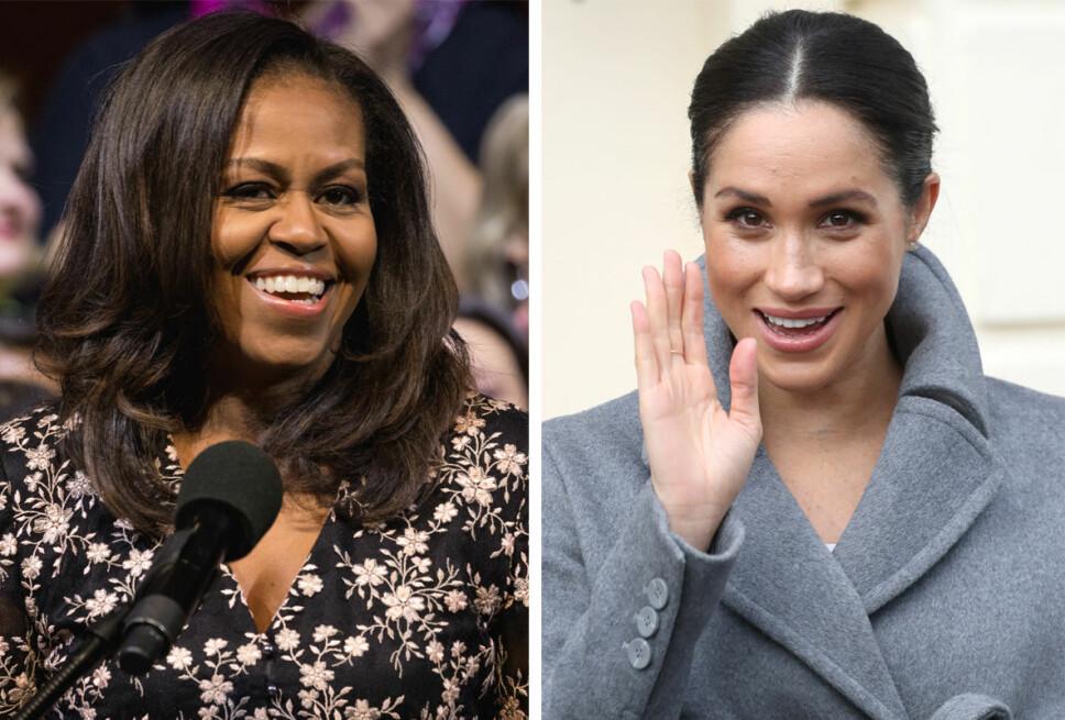 ERFARING: Michelle Obama bruker sin erfaring fra tiden som USAs førstedame når hun gir gode og velmenende råd til hertuginne Meghan.