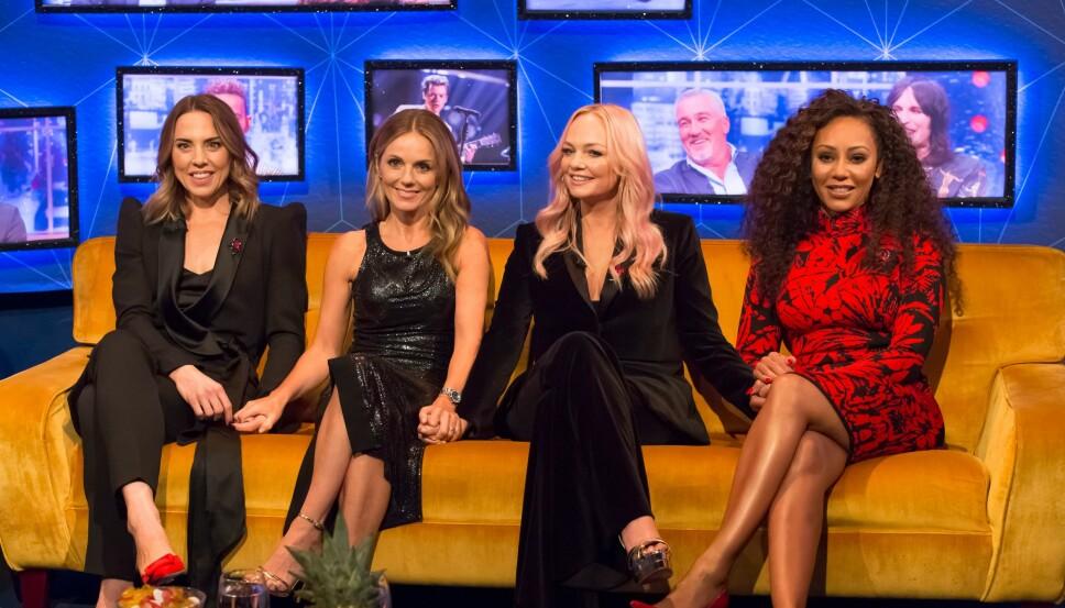 KOMMER TILBAKE: Melanie Chisholm, Geri Halliwell, Emma Bunton og Melanie Brown gjør comeback som Spice Girls, uten gruppas mest profilerte medlem - Victoria Beckham.