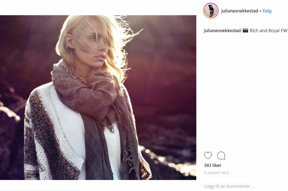 POPULÆR: Snekkestad i en reklame for det tyske klesmerket Rich & Royal. Den vakre modellen deler sine oppdrag flittig på Instagram.
