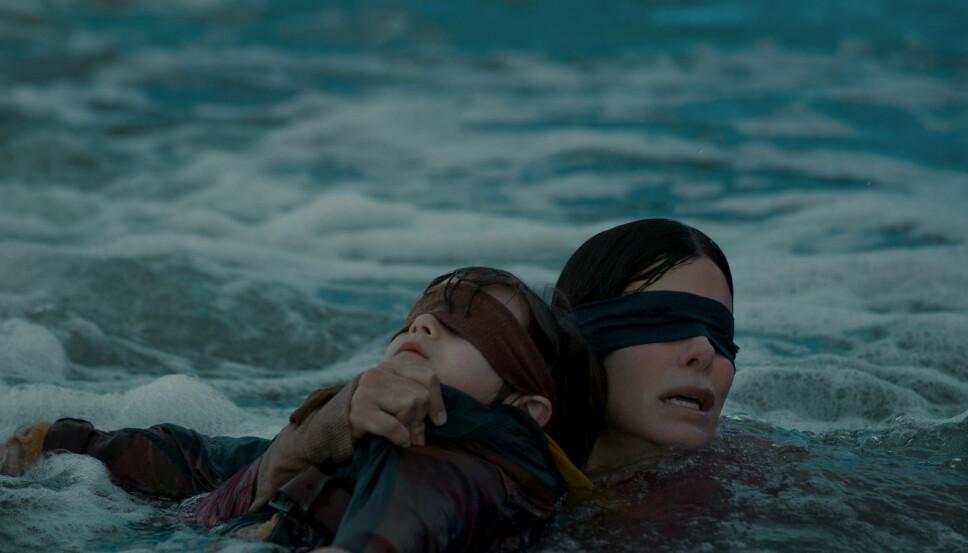 NERVEPIRRENDE: Sandra Bullock gir alt når hun skal redde to barn i filmen «Bird Box».