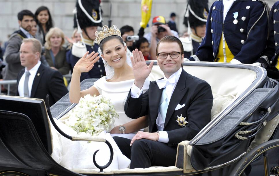 NYGIFT: Kronprinsesse Victoria og Daniel på bryllupsdagen sin.
