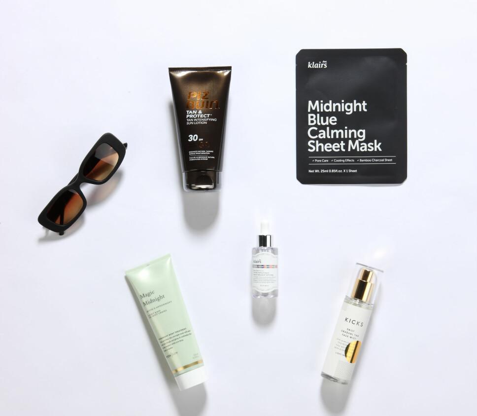 VÆR SNILL MOT HUDEN: Hudpleieproduktene som hjelper deg å ta vare på huden på solfylte dager.