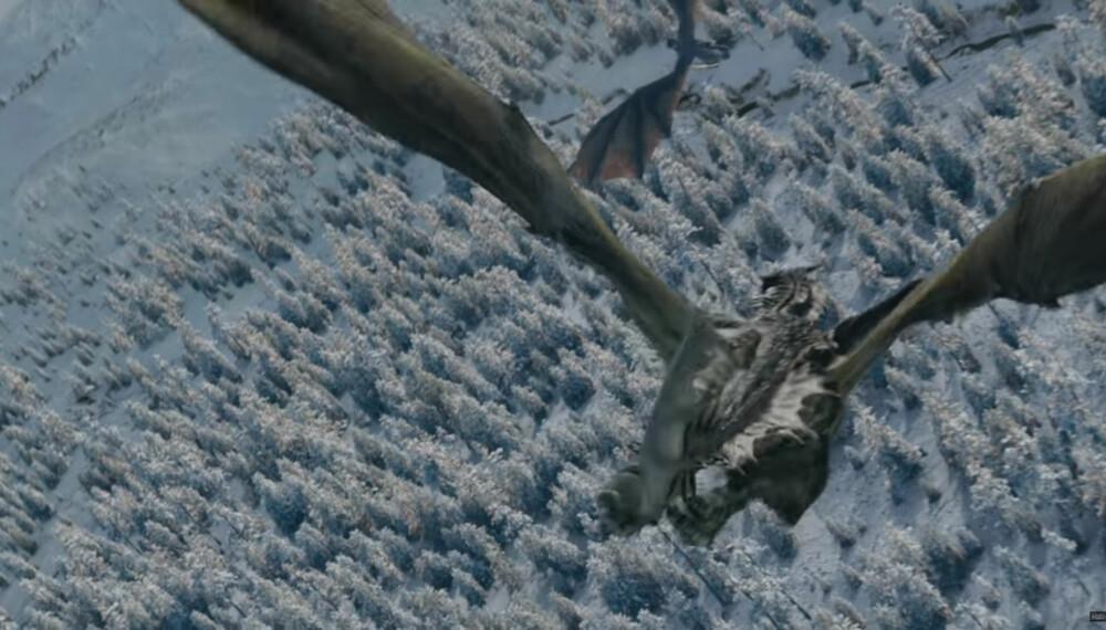 BARE TO IGJEN: Daenerys' drage Viserion ble drept og omgjort til en isdrage av The NIght King i sesong sju. Dermed er det bare to levende igjen.