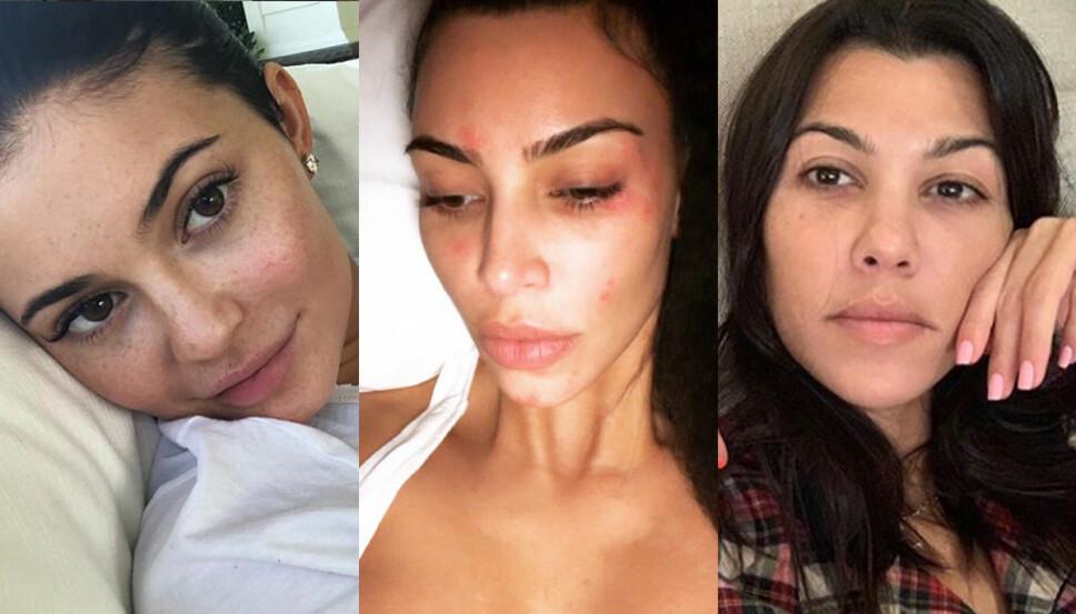 SMINKEFRI: Alle trenger en sminkefri dag innimellom, det gjelder også søstrene i Kardashian-/Jenner-klanen!