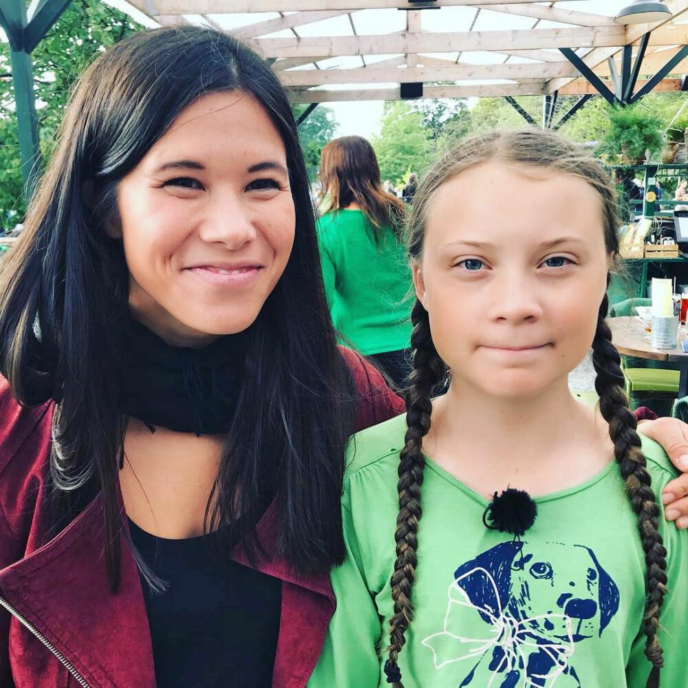 GRØNT FELLESSKAP: Lan Marie Berg fra Miljøpartiet De Grønne la ut dette bildet og en hyllest til Greta på Instagram. – Takk til alle unge som stiller krav til oss voksne, skrev Berg.