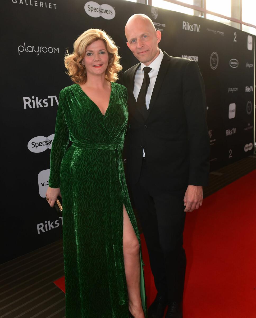 JOBBER SAMMEN: Anne Lindmo og ektemannen Hasse har flere spennende prosjekter sammen. Her er de to sammen under Gullruten 2017.